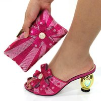 Dress Shoes Fuchsia Color Italian Design Women And Bag Set African Ladies Matching Pumps With Handbag Slippers Purse CR129 Height 8CM