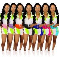 여성 반바지 TrackSuits 두 조각 세트 바지 숙녀 여름 반팔 지퍼 자켓 바지 복장 캐주얼 조깅 스웨터 스포츠 정장 여자 의류 S-3XL