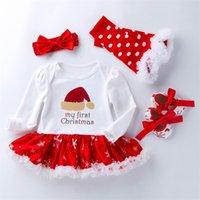 4 조각 정장 아기 의류 인쇄 긴 소매 산타 클로스 눈송이 스커트 활 헤드웨어 양말 크리스마스 옷 41K K2 세트