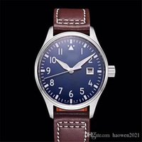 2021 new Automatic Mechanical men's watch Pilot MARK XVIII IW327004 40mm blue Dial brown Leather StrapMens Watches