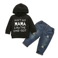 Baby Clothing Sets Boys Suits Kids Clothes Autumn Winter Cotton Letter Printed Hoodie Hole Jeans Trousers 2Pcs B8255