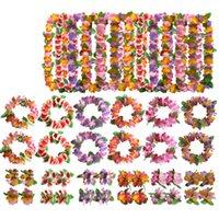 Hawaiian Hula Luau Dancer Flower Headband Necklace Garland Wreath Tropical Party Dress Decor Birthday Halloween Favor
