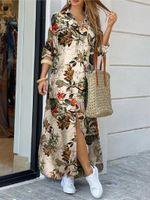 Casual Dresses Long Sleeve Dress Checked Plaid Robe Maxi Beach Summer Elegant Women Button Shirt Split Print Lapel Party