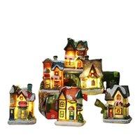 Рождественские украшения Светодиодная Игрушка Смола Небольшой Дом Микро Ландшафт Замка Украшения Рождественские подарки Игрушки