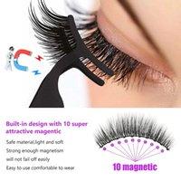 False Eyelashes 5 Pairs Magnetic Reusable No Glue Need Quantum With Eyeliner Kit Tweezers Eyebrow Scissors