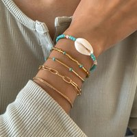 Female Boho Natural Shell Summer Bracelet Set for Women Circle Strand Bead Chain Bangles Gold Color Charm Jewelry Gifts