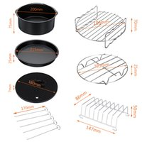 11X Air Fryer Accessories 9 Inch Fit for Airfryer 5.2-6.8QT Baking Basket Pizza Plate Grill Pot Kitchen Cooking Tool for Party