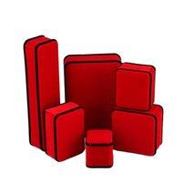 Caja de embalaje de joyas de terciopelo de terciopelo cuadrado Cajas de color negro rojo para collar Collar Pulseras Anillo Pendiente Decoración