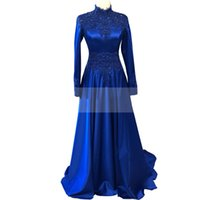 2022 Muslim Evening Dresses High Neck Long Sleeves Applique Beaded Royal Blue Satin Prom Formal Gowns Saudi Arabia Special Occasion Dress