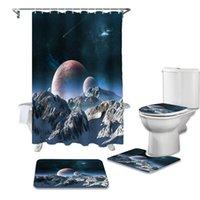 록키 산맥 행성 별이 빛나는 하늘 욕실 세트 내구성 방수 샤워 커튼 러그 카펫 화장실 뚜껑 덮개 목욕 매트 커튼
