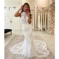 Stunning Elegant Mermaid Wedding Dress High Neck Halter Sleeveless Lace Appliques Illusion Backless Bridal Gowns Court Train