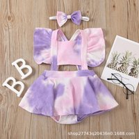 Clothing Sets 2021 Summer Baby Girl Bodysuit Twins Clothes Sleeveless Tie Dye Print Girls Jumpsuit + Headband 2 Piece Set