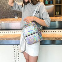Silver Pink Fashion Laser Backpack Women Girls Bag Holographic Small Size For Teenage Style