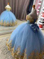 Modest 3D Floral Flowers Gold Lace Flower Girls Dresses Ball Gown Off the shoulder with Sleeves Light Baby Blue Party Prom Kids Little Girl First Communion Dress