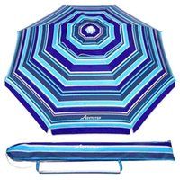 Tents And Shelters MOVTOTOP 6.5ft Beach Umbrella Striped Design Sand UV Protection Breathable Sun Shelter For Outdoor Travel (Royal-
