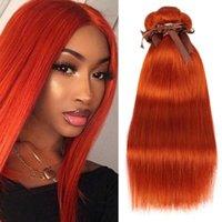 Human Hair Bulks Sleek Orange Straight Brazilian Weave Bundles Deal Extension Vendors 8 To 28 Inch Remy 100%