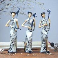 Obiekty dekoracyjne Figurki chiński styl cheongsam, erhu, pipa, instrument muzyczny, ornamenty damskie, salon TV szafka ganek