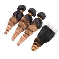 Ombre farbig 1b 4 27 locker lockiges Haar 3bundles mit Verschluss 4x4 Honigblondine 1b 4 27 Lose Wellenhaareinschuß mit Schließung