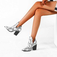 Motorcycle Western Cowboy Boots Women Animal Snake pattern PU Leather High Heels slip on Cowgirl Booties Ankle botas Shoes 210610