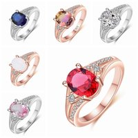 Fashion Women Rings Rose Gold Color Crystal Inlay Rings Wedding Engagement Bands Classic Jewelry Girl Birthday