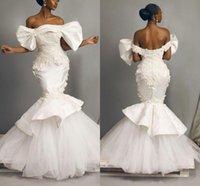 Vintage Satin African Mermaid Wedding Dress Off The Shoulder Sexy Lace Appliques Ruched Tiers Bridal Gowns 2021 Arabic Backless Vestidos De Novia Plus Size AL9353