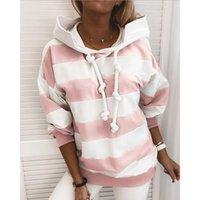 Women's Hoodies & Sweatshirts Spring Autumn Sports Women Stripe Sportswear Long Sleeve Hooded Sweatshirt Set Female Streetwear Tops 2021