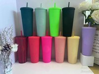 Summer Starbucks Fluorescent pink durian laser Straw cup Tumbler high-capacity 710ML Mermaid plastic cold water coffee Mug gift