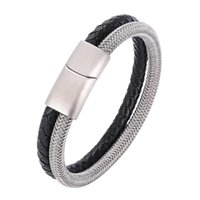 Charm Bracelets Stainless Steel Wire Cable Magnetic Clasp Double Layered Bracelet Men Braided Genuine Leather Wristband Male Jewelry Gift SP