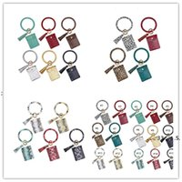 newWomen Bangle Wristlets Wallet Coin Purses Tassels Key Chains Card Holder Bag Trendy Leopard Leather Bracelets Keychain Wallet EWB5510