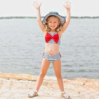Girls Fashion Swimming Suits Baby Kids Designer Stripe Printed Sling Style Two Pieces Swim Clothing Set Child Casual Cute Bow Swimwear