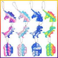 Fidget Toys Sensory Dinosaur unicorn Animal keychain Push Bubble silicone Anti Stress Educational Children And Adults Decompression Toy-TOPN213