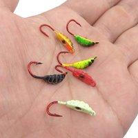 6 pz / lotto inverno ghiaccio gancio gancio esche metallo worm esca pesca testa ganci testa jigging accessori 2.2 cm 1.4g