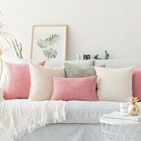 Cushion Decorative Pillow Solid Case Corduroy Flocking Velvet Cushion Cover Pink Grey Blue Coffee Soft Home Decorative 45x45cm 60x60cm