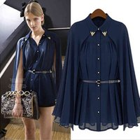 New Arrival Fashion ladies tops blouses Loose shawl cape-style chiffon cardigan sun protection off shoulder Shirts blouses for women