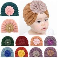 Children cap Baby knitted hats kids flowers Wool Hat Winter Warm newborn fetal hat dd572