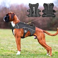 Nylon Dog Harness Reflective Large Dogs Halter Quick Control No Pull Pet Vest With Lift Handle For German Shepard Collars & Leashes