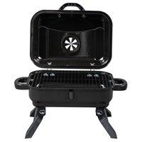 Tabletop dobrável Grill Bakeware Carvão Charcoal Babez e fumante com tampa, para camping pátio quintal ao ar livre cozinhar, preto