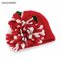 Caps & Hats Fashion Girls Handmade Flower Knit Red Baby Christmas Infant Beanie Kids Hair Accessories For Po Shoot Props