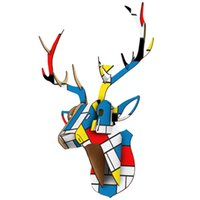 DIY 3D Animal de madera Ciervos de madera Cabeza de arte Modelo Inicio Oficina de pared Decoración de la decoración Titulares de almacenes Racks Accesorios de decoración del hogar 210326