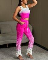 Женские штабелированные трексеи урожая верхние длинные брюки 2 шт. Дамы наборы Повседневная тонкая пуловер в горошек