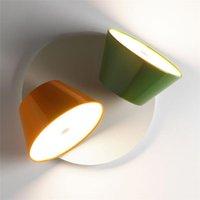 الحديثة 2 رؤساء المعادن الزجاج طبل الجدار مصباح متعدد الألوان عشوائي مزعفة مطعم بار فيلا الشمعدان WA157
