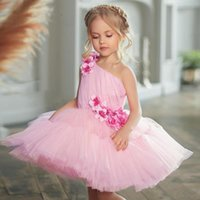 Girl's Dresses Puffy Tulle Lace Ball Gown Flower Girl Princess Dress Illusion Wedding Party First Communion