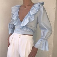 Fashion Solid Tops V-Neck Crop Top Long Flare Sleeve Blouse Fashion Women Ruffle