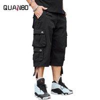 Homens Casual Fit Fit Multi-bolsos Militares 3/4 Carga Shorts 2021 Homens de Verão Algodão Safari Style Calças