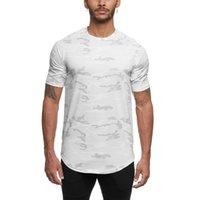 여름 남성 카모 스포츠 티셔츠 짧은 소매 운동 체육관 Tshirt 남자 압축 착용 의류 남자 피트니스 탑스 셔츠