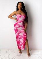 Spagetti Kayışı Renkli Bayan Elbiseler Yaz Kolsuz Bölünmüş Leopar Seksi Bayanlar Bodycon Elbiseler Tasarımcı Kadın Elbiseler