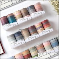 Gift Wrap Evenement Feestelijke Feestartikelen Home Garden10 Rolls / Set Colorf Papieren Washi Rainbow Adhesive DIY Scrapbooking Sticker Label Maskering