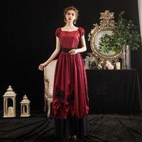 Halloween Karneval Kleid Bühne Rokoko Maskerade Party Kleid Theater Kostüme Mittelalterliche Renaissance Rot Kurzarm Ballkleider 2021