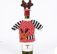 Noel Baba Kırmızı Şarap Şişesi Kapak Çanta Noel Süslemeleri Ev Noel-Yemeği Masa Dekorasyon Giysileri Ile Şapka DHF9174