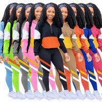Mujeres Trajes Dos piezas Set Pantalones Multi Color Line Stitching Ocio Deportes Trajes Damas Moda Casual Outfits Sportwear